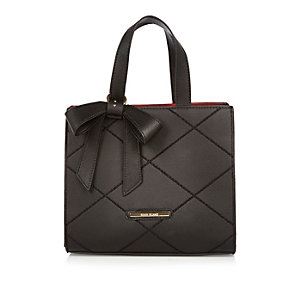 Girls black bow boxy tote handbag