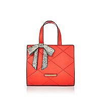 Girls red bow boxy tote bag