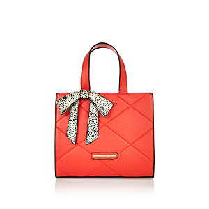 Girls red bow boxy tote handbag