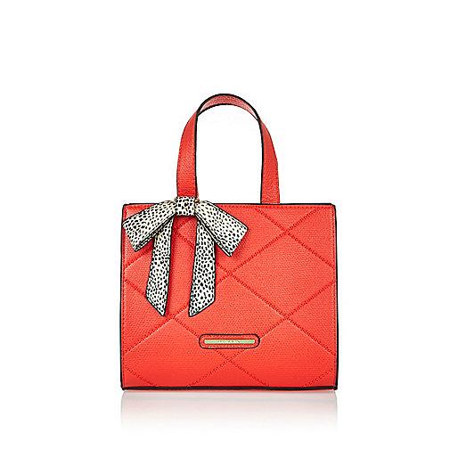 Girls red bow boxy tote handbag
