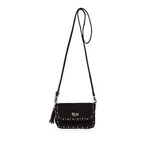 Girls black studded cross body handbag