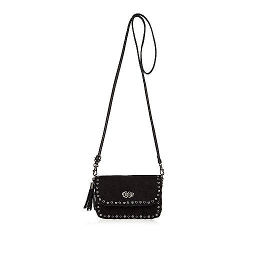 Girls black studded cross body handbag