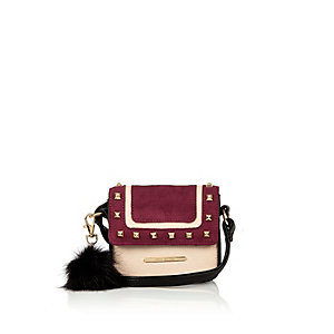 Girls dark red studded pom pom handbag