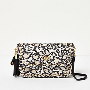 Girls white animal print cross body bag