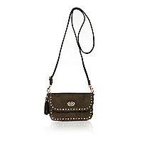 Girls khaki studded cross body bag