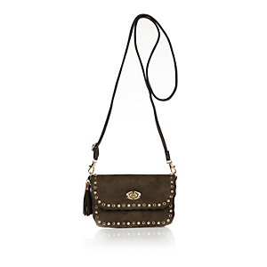 Girls khaki studded cross body handbag
