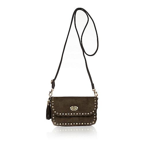 Girls khaki studded cross body handbag