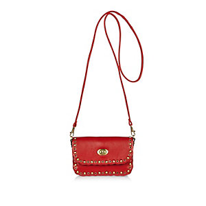 Girls red studded cross body handbag