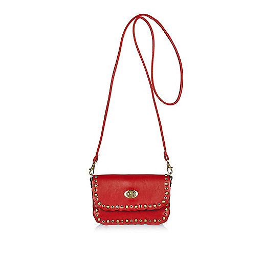 Girls red studded cross body bag