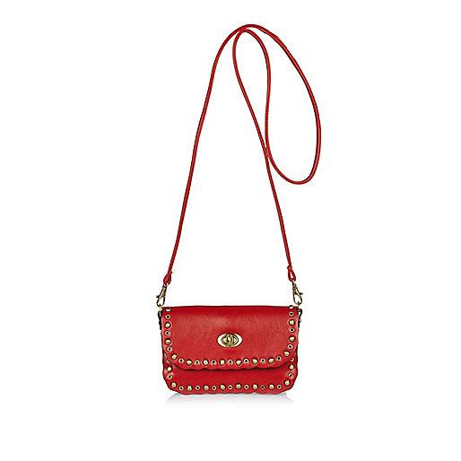 Girls red studded cross body bag