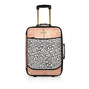 Girls white leopard print suitcase