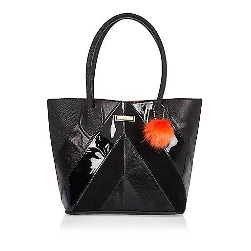Girls black pom pom shopper bag