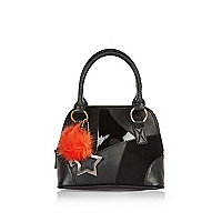 Girls black patchwork pom pom handbag