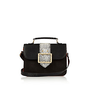 Girls black large buckle cross body handbag