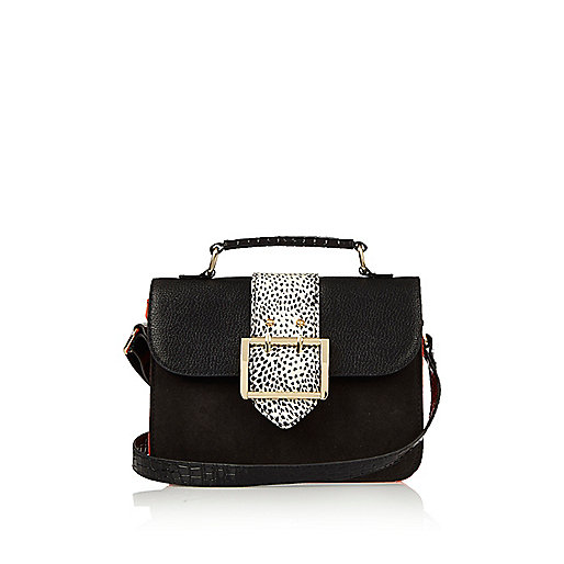 Girls black large buckle cross body bag