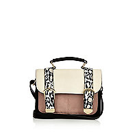 Girls white animal print satchel bag