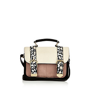 Girls white animal print satchel handbag