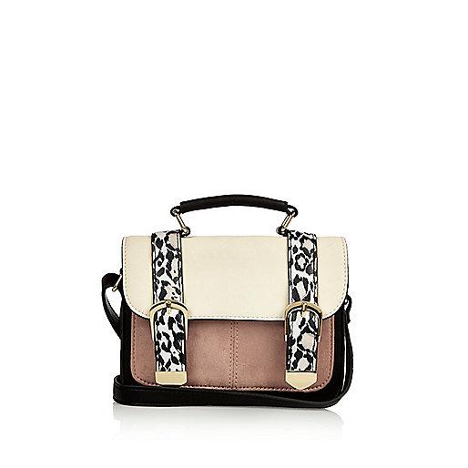 Girls white animal print satchel bag