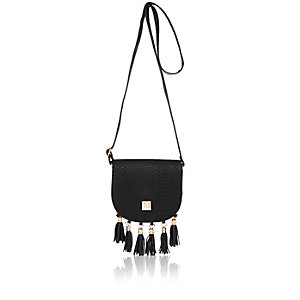 Girls black tassel cross body handbag