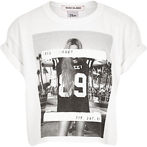 Girls white print cropped t-shirt