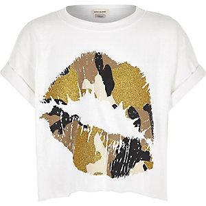 Girls white cropped lip print t-shirt