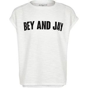 Girls white slogan t-shirt
