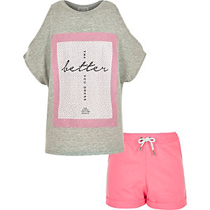 Girls grey kimono top and shorts outfit