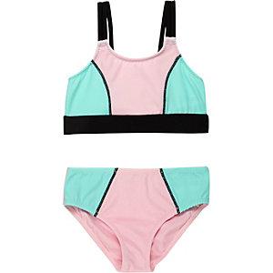Mini girls pink color block bikini
