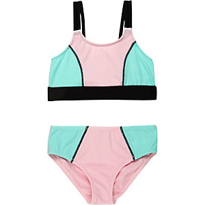 Bikini imprimé colour block pour mini fille