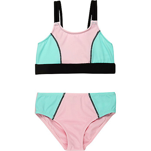 Mini girls pink colour block bikini
