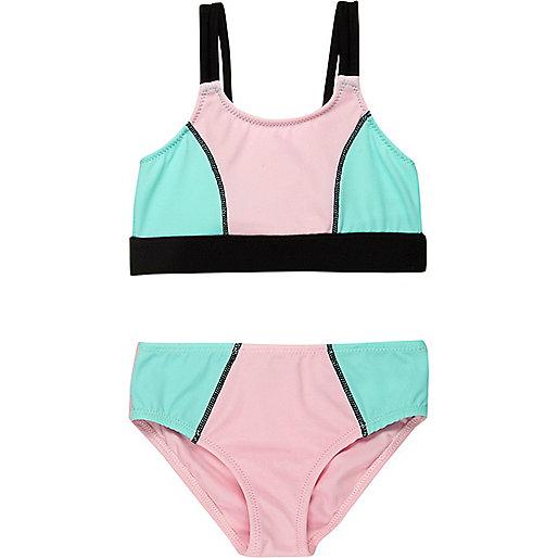 Bikini imprimé colour block pour mini fille
