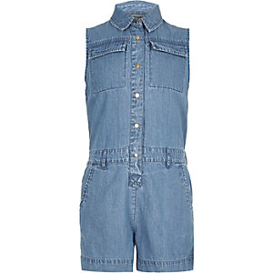 Girls mid blue wash denim romper