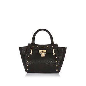 Girls black winged padlock bag