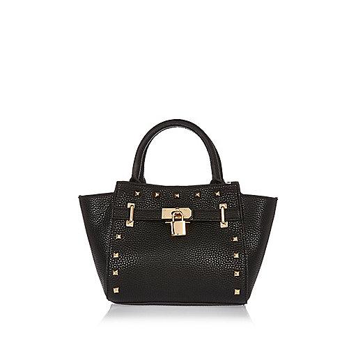 Girls black winged padlock bag