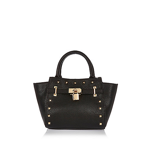 Girls black winged padlock handbag