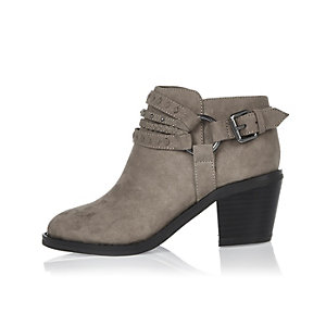 Girls grey multi strap western boots