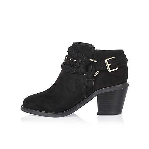 Girls black multi strap Western boots