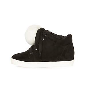 Girls black wedge pom pom hi tops