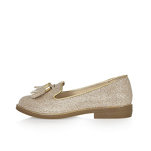 Girls gold metallic tassel loafers
