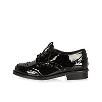 Girls black patent brogues