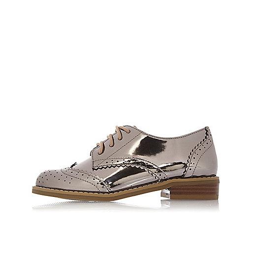 Girls silver metallic brogues