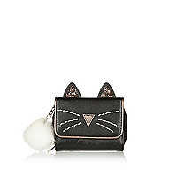 Girls black magic cat trifold purse