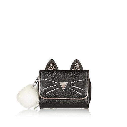 Girls black magic cat trifold purse