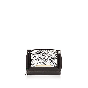 Girls black animal print trifold purse