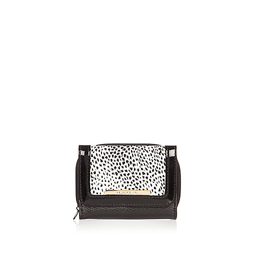Girls black animal print trifold purse