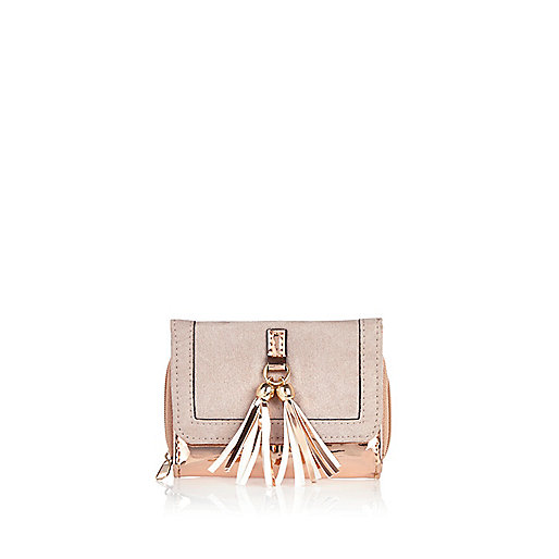 Girls rose gold tassel trifold purse