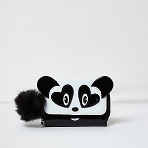 Girls white panda trifold purse