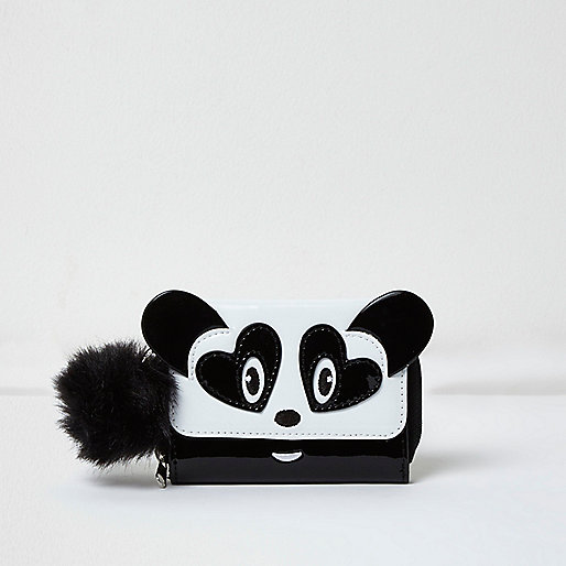 Girls white panda trifold purse