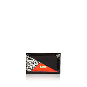 Girls black color block trifold purse