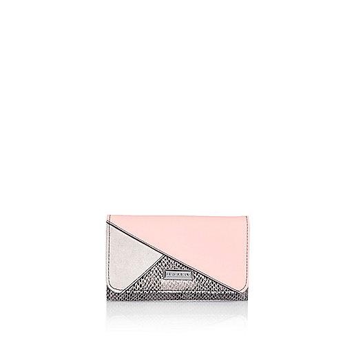 Girls cream color block trifold purse